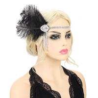 OSTRICH FEATHER SILVER DROP GATSBY