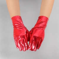 Metallic Wrist Length Gloves