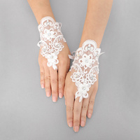 SIMPLE LACE FLOWER GEM STONE GLOVE