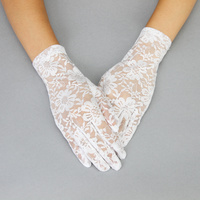 LACE GLOVES W/FLOWERS WHITE