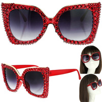 SPARKLING RHINESTONE CAT EYE SUNGLASSES
