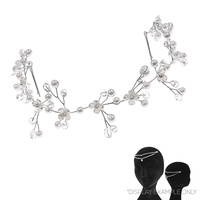 RHINESTONE AND PEARL RHINESTONE VINE HAIR PIN