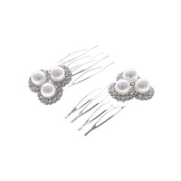 RHINESTONE AND PEARL HAIR COMB