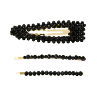 3 PC HAIR CLIP SET W/ BEADS
