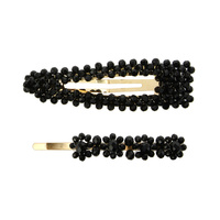 2 PC HAIR CLIP SET W/ BEADS