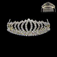 Small Rhinestone Front Comb Tiara Hcy5056Gcl