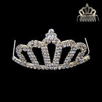 Small Rhinestone Front Comb Tiara Hcy5057Gcl
