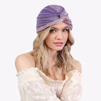 TWO TONE SHIMMERING GLITTER PRE TIED KNOT PLEATED TURBAN