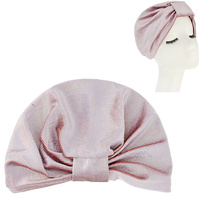 SHIMMERING SEQUIN PRE TIED KNOT PLEATED TURBAN