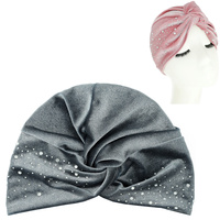 VELVET SOFT PRE TIED KNOT PLEATED TURBAN WITH CRYSTAL RHINESTONE