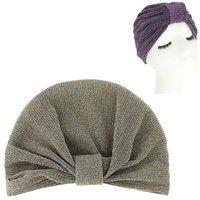 SHIMMERING GLITTER PRE TIED KNOT PLEATED TURBAN