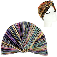 COLORFUL STRIPE VELVET SOFT PRE TIED KNOT PLEATED TURBAN