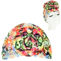 COLORFUL SNAKE SKIN PRINT FLOWER KNOT HEADWRAP TURBAN