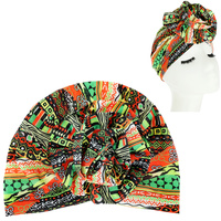 AFRICAN PRINT FLOWER KNOT HEADWRAP TURBAN