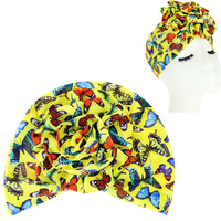BUTTERFULY PRINT FLOWER KNOT HEADWRAP TURBAN