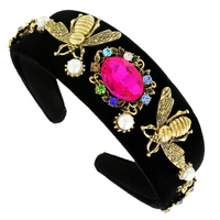 VINTAGE BEE FUCHSIA STONE & PEARL FASHION HEADBAND