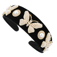BUTTERFLY PEARL AND RHINESTONE FASHION HEADBAND
