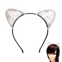 CAT EAR WIRE & STONE HAIR HEAD BAND