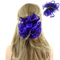 Scrunched Satin And Chiffon Striped Fabric Hair Jawclip Hg48Pu