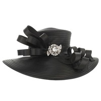 Large Satin Braid Hat with Curly Bow and Stone BroochColor: BLACKSize: One Size / Adjustable Inner Band