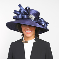 Large Satin Braid Hat with Curly Bow and Stone Brooch  Color: NAVY BLUE  Size: One Size / Adjustable Inner Band