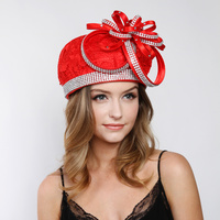 Lace Beret Hat with Loopy Bow and Stone TrimColor: CHAMPAGNESize: One Size / Adjustable Inner Band