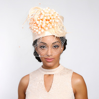 SALE! Satin Pillbox Hat With Loopy Sequin Feather Flower And Veil Htb1281Cp