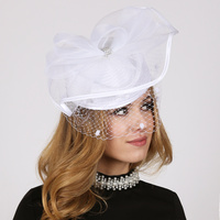 Satin Braid Pillbox Hat with Mesh Bow, Stone Accent and Netting Veil  Color: WHITE  Size: One Size / Adjustable Inner Band
