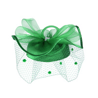 Satin Braid Pillbox Hat with Mesh Bow, Stone Accent and Netting Veil  Color: GREEN  Size: One Size / Adjustable Inner Band