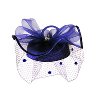 Satin Braid Pillbox Hat with Mesh Bow, Stone Accent and Netting VeilColor: NAVYSize: One Size / Adjustable Inner Band
