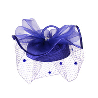 Satin Braid Pillbox Hat with Mesh Bow, Stone Accent and Netting Veil  Color: ROYAL BLUE  Size: One Size / Adjustable Inner Band