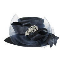 Wide Brim Satin Braid Hat with Mesh Bow and Stone Leaf Accent   Color: NAVY BLUE  Size: One Size  / Adjustable Inner Band