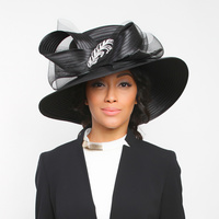 Wide Brim Satin Braid Hat with Mesh Bow and Stone Leaf AccentColor: BLACKSize: One Size / Adjustable Inner Band