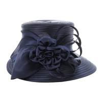 Medium Oval Brim Satin Braid Hat with Bow, Flower and Feathers