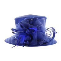 ROYAL BLUE STYLISH SUMMER HAT WITH STONES & MESH