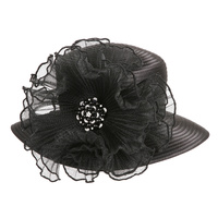 SATIN BRAID HAT WITH RUFFLE CENTER AND PEARL  Color: BLACK  Size: One Size / Adjustable Inner Band