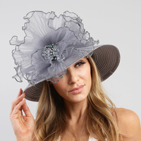 SATIN BRAID HAT WITH RUFFLE CENTER AND PEARL