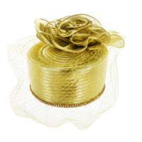 Satin Braid Pillbox W/ Diamonds on Edge & Netting  Color: GOLD  Size: One Size / Adjustable Inner Band