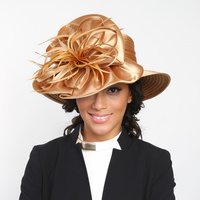 BRAID HAT WITH SATIN BURST FEATHER