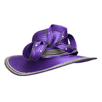 WIDE BRIM SATIN BRAID W/LOOPY RHINESTONE ACCENT