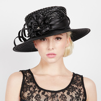 STONE STUDDED ROSE BOW BRAID HAT