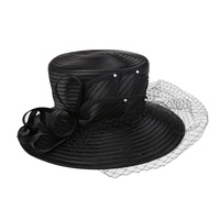LOOPED PETAL BRAID HAT W/ MESH VEIL