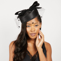 PILLBOX HAT W/ BOW DETAIL & MESH