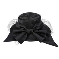 LARGE BOW W VEIL BRAID HAT