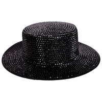 CHROME RHINESTONE FLAT TOP HAT