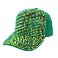 2 TONE SHINY STONE DENIM CAP
