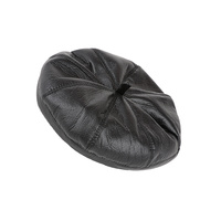 PLEATHER FAUX LEATHER BERET FASHION