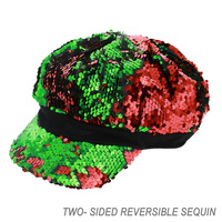 SEQUIN CAPTAIN NEWSBOY TRAIN CONDUCTOR CAP WITH CHAIN