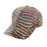 WHITE STRIPED SPARKLE FABRIC CAP