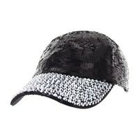 SEQUIN CAP W/FULL STONED BILL
